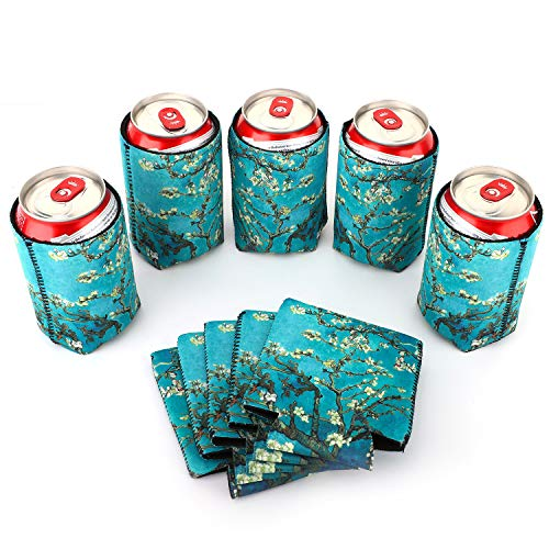 Nuovoware Can Coolers Sleeves Neoprene, [10-Pack] Premium Collapsible Insulated Drink Coolies for Cans Bottles Beer Soft Drink, Perfect for BBQ, Parties, DIY Projects and More, 10 Almond Blossom