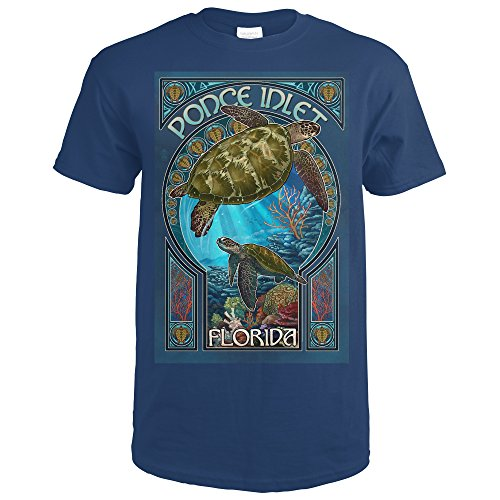 Inlet Tee (Ponce Inlet, Florida - Sea Turtle Art Nouveau (Navy Blue T-Shirt Medium))