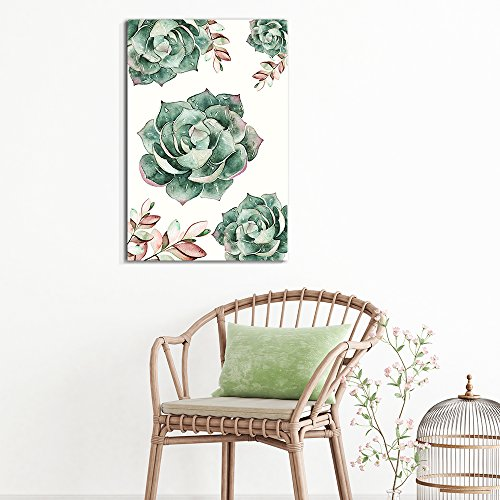 Succulent Plants Series Watercolor Succulents on White Background
