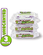 Boogie Wipes, Unscented Wet Wipes for Baby and Kids, Nose, Face, Hand and Body, Soft and Sensitive Tissue Made with Natural Saline, Aloe, Chamomile and Vitamin E, 30 Count (Pack of 3)