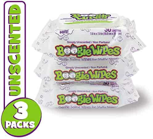 Boogie Wipes Unscented Soft Natural Saline Wet Tissues for Baby and Kids Sensitive Nose, Hand, and Face with Moisturizing Aloe, Chamomile, and Vitamin E, 30 Count (Pack of 3)
