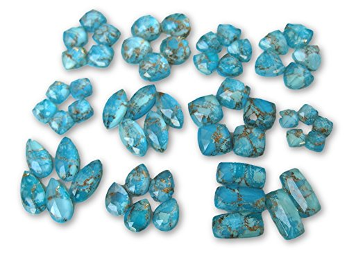 4 Pieces Blue Copper Turquoise Doublet Flat Back Gemstone Cabochon, GDS1048/11 (20x10x6mm,6.53gms(Marquise)) (Doublet Turquoise)