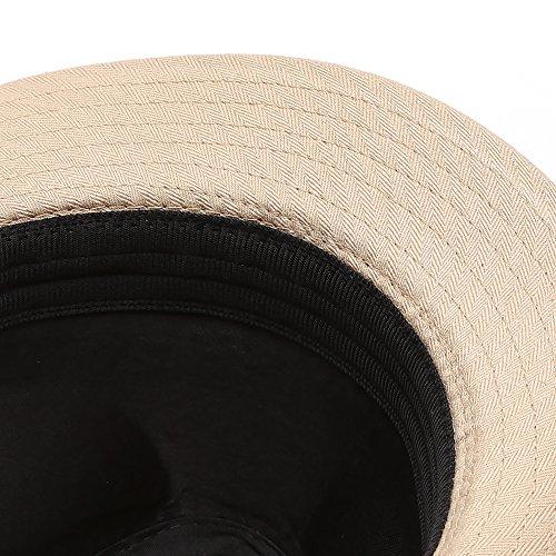 MIRMARU Classic Trilby Short Brim 100% Cotton Twill Fedora Hat with Band 42a361232ed7