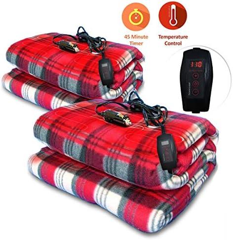 Soft Fleece 12V AC Heating Throw Blanket Travel Blankets for Car Truck RV Camper Boat QBABY Car Electric Heated Blanket Grey 57x39