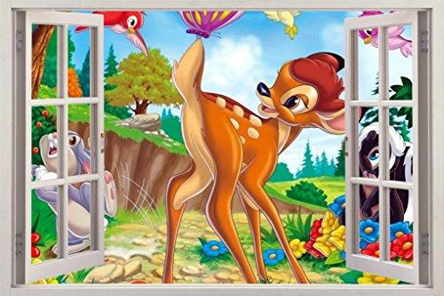 BAMBI 3D Window View Decal WALL STICKER Decor Art Disney Mural Deer H50, - Bambi 3