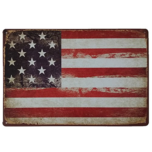 (American Flag Logo Vintage Metal Sign Retro Decor For Wall Bar Home Pub Tin Sign Posters 12 x 8 Inch )