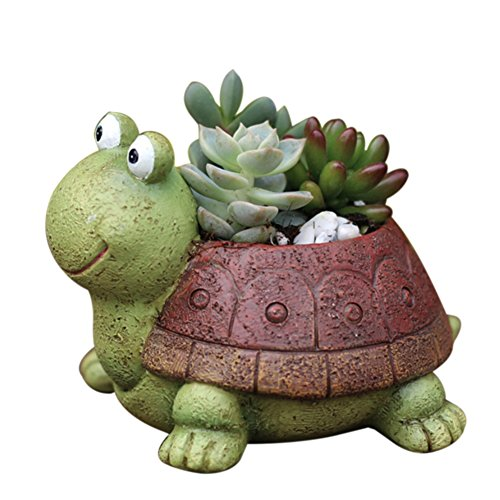 Handfly Resin Mini Tortoise Flower Pot Balcony Garden Plant Planter Animal Garden Planter Ornament Home Office ()