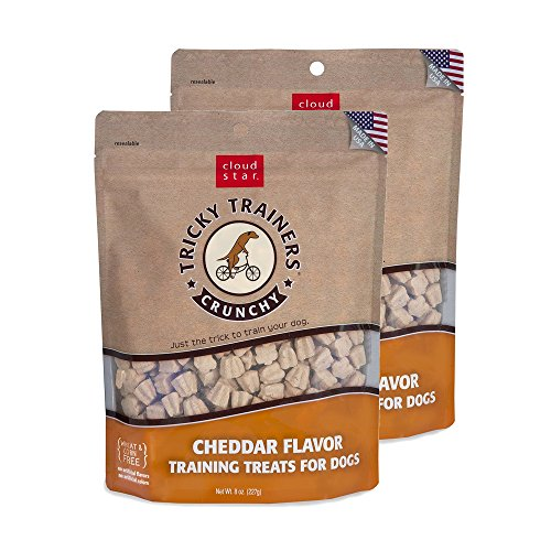 Cloud Star Crunchy Tricky Trainers Cheddar Flavor Training Treats for Dogs (2 Pack) 8 oz (Venture Little Dog Trainer)