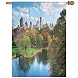 HUANGLING Central Park In Autumn With Lake Trees And Manhattan USA American Nature Image Home Flag Garden Flag Demonstrations Flag Family Party Flag Match Flag 27''x37''