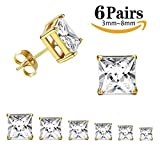 Thunaraz 316L Surgical Steel Stud Earrings Princess Cut Square Cubic Zirconia Earrings Set 6 Pairs 3mm-8mm (Golden Tone)