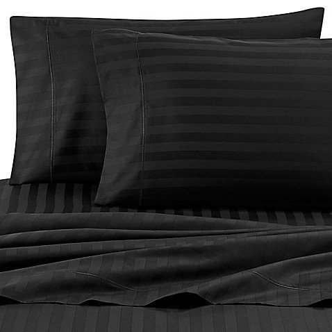 Damask Stripe 500-Thread-Count Cotton Standard Pillowcases in Black (Set of 2)