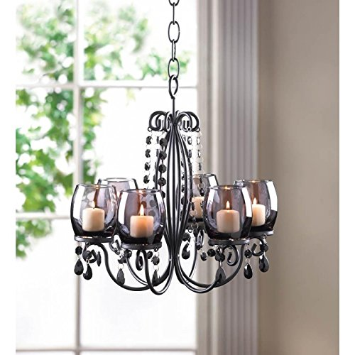 Candles Midnight Elegance Chandelier Tealight Votive Candle Light Den Room Office Gift Hand Hanging Table Desk