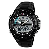 SKMEI Mens Dual Dial Timezone Digital Analog Sports Watch 96 FT Water Resistant Wrist Watch - Black