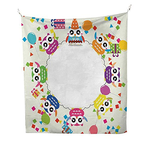 Anshesix Kids Party Bedroom Tapestry Circular Design Colorful Funny Owl Figures with Confetti Present Boxes Balloons Tapestry Throwing Blanket 51W x 60L INCHMulticolor