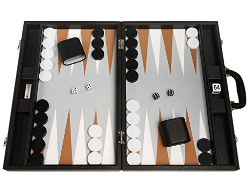 5 Year Rum (19-inch Premium Backgammon Set - Large Size - Black Board, White and Rum Points)