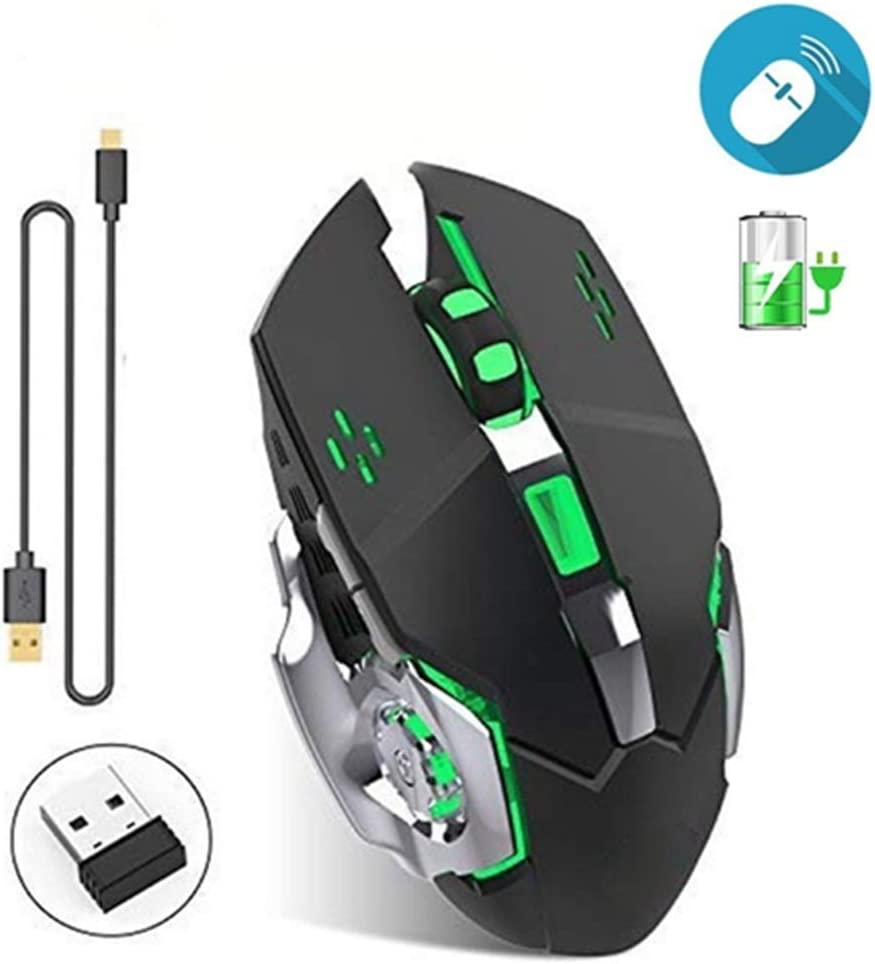 BINGFEI Wireless Silent Rechargeable Gaming Mouse 2.4GHz 1800DPI Mice USB Optical Game Backlight Mouse for Overwatch