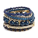 Riah Fashion Women's Multicolor Beaded Stretch Stackable Bracelet (Navy)