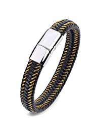 Capital Charms Braided Leather Bracelet for Men - 316L Stainless Steel with High Polished Fade Resistant Reinforced Magnetic Clasp
