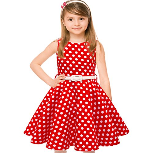 HBB Girl's Classy Audrey 1950s Vintage Rockabilly Swing Party Sleeveless Dress with Belt (Girl's 11/12, Red Dot)
