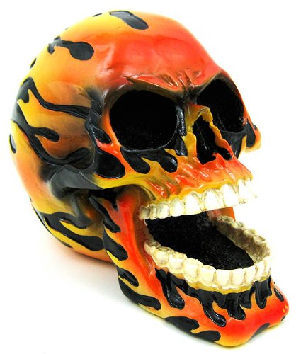 Hand Painted Flaming Human Skull Statue Figure - Statue Figure Painted
