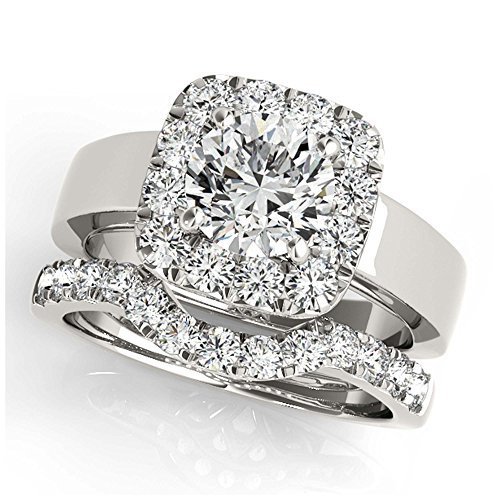 14K White Gold Unique Wedding Diamond Bridal Set Style MT50823