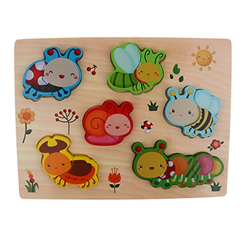 DYNWAVE Wooden Peg Puzzles Set - Animals, Vegetables and Vehicles, Color Recognition Shape Sorting Sorter Toy - Insects ()