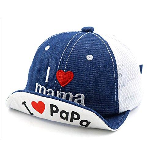 Baby Summer Mesh Soft Brim Flanging Sun Hat Baseball Cap Letter Print Hats for Kids Girls Boys Sun Protection(Blue(Heart)) ()