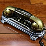 WXL Retro Wall-Mounted Mobile Phone Creative European Antique Retro Home Wall-Mounted Cable Fixed Landline (Color : Ancient Nickel)