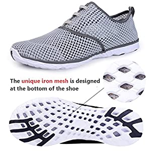 Water Shoes for Men Quick Drying Aqua Shoes Beach Pool Shoes Mesh Slip On (Gray)