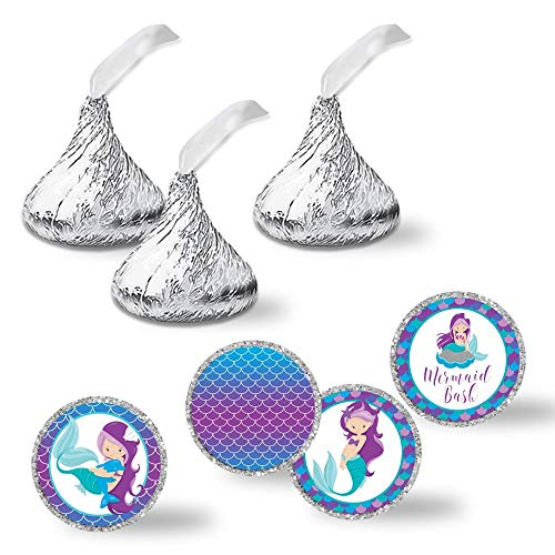 "(Magical Mermaid Birthday Bash Party Kiss Sticker Labels, 240 Party Circle Sticker sized 0.75"" for Chocolate Drop Kisses by AmandaCreation, Great for Party Favors, Envelope Seals & Goodie Bags)"