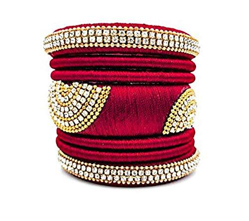 GOELX Festive Offer: Maroon Silk Thread Handcrafted Bangles Set