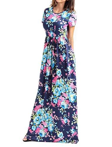 284753b23c1390 Boho Maxikleid Blau Lang Partykleid Damen Strandkleider Touchie Kleider  Sommerkleid Sommer Blumen ...