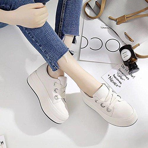 cuoio studentesse scarpe 39 nero delle KPHY le bianche donne l'aumento scarpe in cravatta Thirty scarpe di seven primavera e corrispondenza spessore inferiore 4ap4EAx