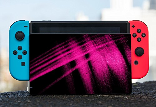 Hot Pink Abstract Paint Design on Black Background Nintendo Switch Dock Vinyl Decal Sticker Skin by Moonlight Printing