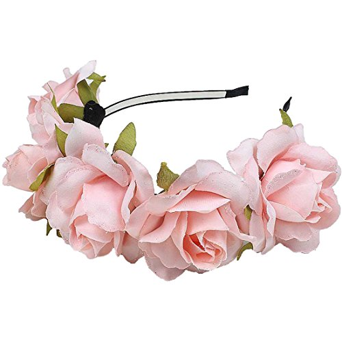 Daisyu Women's Fascinators Flower Crown Headband Bridal Bridesmaids Weddings Party Festivals Crown Floral Head Wreath (Pale pink)