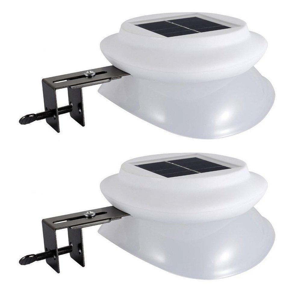 Solar Gutter Lights, Latta Alvor Outdoor Garden Solar Power LED Pathway Waterproof Lightning for Fence Landscape Yard Street Auto-Induction ON/Off Driveway Lamp (2 Pack)