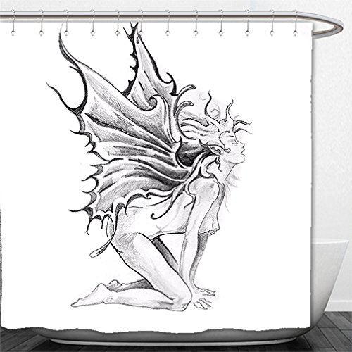 Interestlee Shower Curtain Tattoo Decor Artistic Pencil Drawing Art Print Nude Fairy Opening its Angel Wings Black and - Nude Swag Black