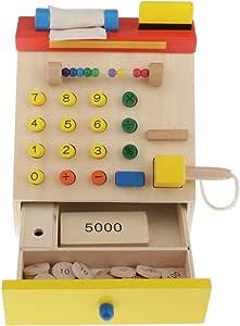 Injoyo Niños Madera Simulación Caja Registradora Caja Contador ...