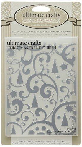 Ultimate Crafts Embossing Folder, 4 by 6-Inch, Christmas Tree (Flourish Christmas Tree)