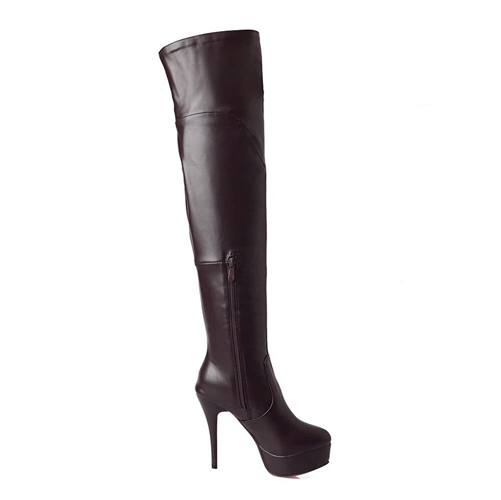 WeiPoot Girls Closed Round Toe High Heels PU Soft Material Solid Boots with Stiletto