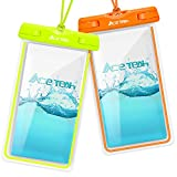 Clear Universal Waterproof Case, Ace Teah Dry Bag, Pouch, Transparent Snowproof Dirtproof Protective Cover for iPhone 8 76 6S Plus X Samsung Galaxy S7 S6 Edge, Note 5 4 3 2 - Orange, Green (2 Pack)