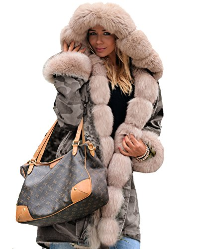 Roiii Thickened Dark Brown Faux Fur Amry Green Camouflage Parka Women Hooded Long Winter Jacket Overcoat Plus Size S-3XL (3XL, (Fur Plus Size Coat)