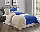white and blue bedding - 3 piece Royal Blue / Grey / WHITE Goose Down Alternative Color Panel Oversize Comforter Set, Queen size Microfiber bedding, Includes 1 Oversize Comforter and 2 Shams