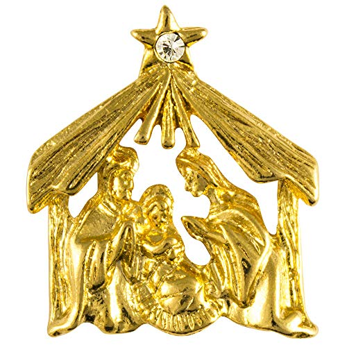Pin Nativity - Christmas Manger Nativity Pin Gold Pated Star (10)
