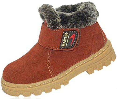 DADAWEN Boy's Girl's Classic Waterproof Leather Winter Boots