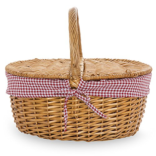 Willow Picnic Basket with Gingham Liner - 14in