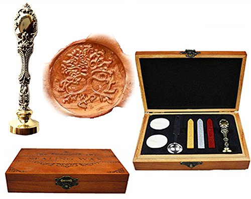- MNYR Vintage Tree of Life Wood Box Candle Melting Spoon Wax Stick Silver Seal Stamp Custom Monogram Letter Logo Decorative Wedding Invitation Nature Gfit Card Sealing Wax Seal Stamp Set