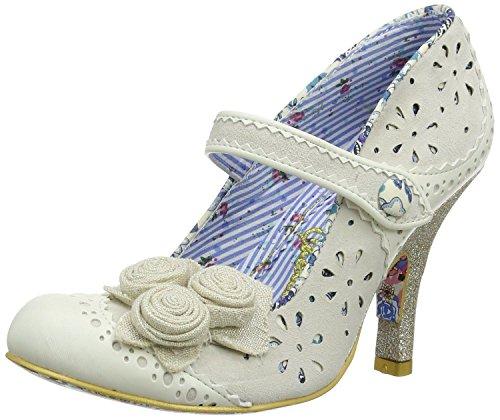 Irregular Choice Echo Crema Azul Mujeres Mary Jane Heels Zapatos