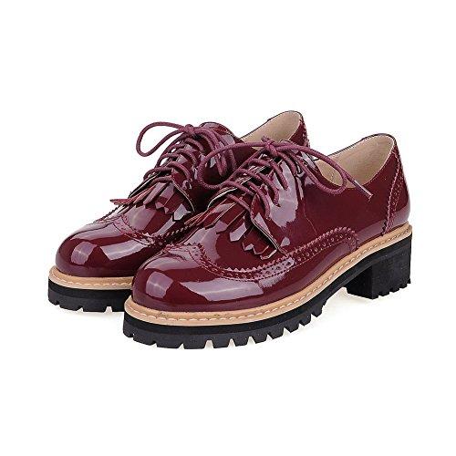 Amoonyfashion Chaussures À Lacets Et Talons Hauts En Cuir Verni À Lacets Fermés Et Bout Ouvert