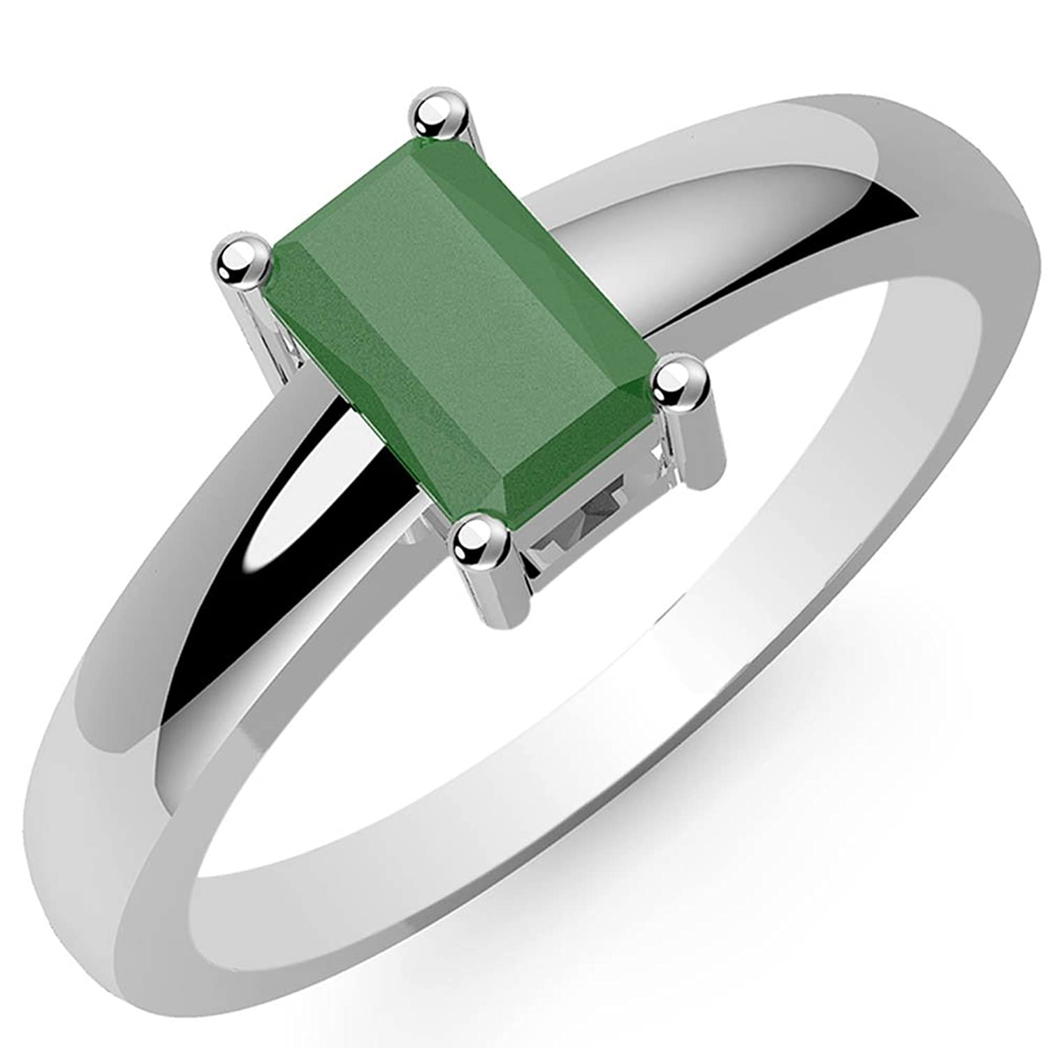 0.80ctw, Genuine Emerald 4x6mm Octagon & Solid .925 Sterling Silver Rings